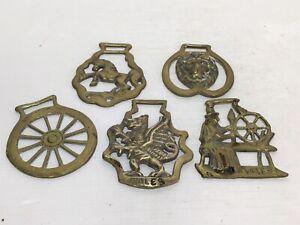 Horse Brass X5   Welsh  Dragon Stallion/ Horse Lion Head  Wheel Job Lot Vintage