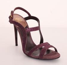 ROBERTO CAVALLI Purple Suede Crystal High Heel Strappy Sandal Pump Shoe 10-40