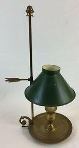 Petite LAMPE BOUILLOTTE Ancienne BRONZE Abat Jour TOLE style Directoire Art Y