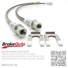 BRAIDED BRAKE HOSES FRONT [HOLDEN FE-FC with HD-HR-HK-HT-HG DISC BRAKES] SILVER