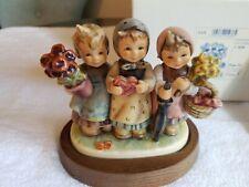 Goebel Hummel Trio of Wishes #721 Tmk7 Le 02643/20000 Wooden Stand & Coa