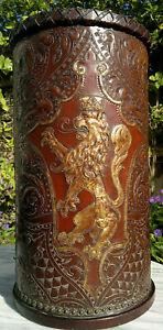 Rare English Arts & Crafts Hand Embossed Leather Umbrella~Cane~Stick Stand c1900