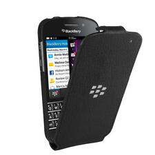 Official BlackBerry Leather Flip Shell Case for Q10 - ACC-50707-201 - Black