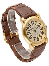 INFINITY:WOMEN GENUINE ANTIQUE LOOK LEATHER BAND GOLD FINISH ANALOG QUARTZ WATCH
