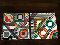 Vtg Pair Mid-Century Abstract Pop Art Geometric Lithograph Prints by Leo Maranz
