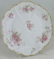 ANTIQUE LIMOGES CAKE PLATE,GOLD RIMS,EMBOSSED,PINK ROSE BOUQUET FLOWERS