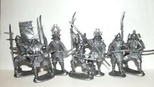 Plastic toy soldiers. Medieval Japanese. Samurai. 1/32 scale. Silver color.