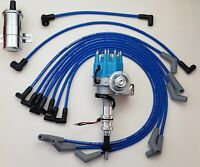 FORD 289 302 BLUE SMALL CAP HEI DISTRIBUTOR + 8.5mm SPARK PLUG WIRES+Chrome Coil