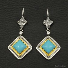 BIG RARE TURQUOISE ETRUSCAN 925 STERLING SILVER & 22K GOLD PLATED GREEK EARRINGS