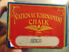 Vintage National Billard Chalk box 62 pcs. cue stick chalking Snooker Gold Pool