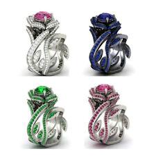 Fashion Women 925 Silver Gold Lotus Flower White Topaz Ring Wedding Jewelry Gift