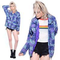 Vtg 80s 90s ABSTRACT PRINT Hip-Hop Grunge Ski Wear Nylon Windbreaker Jacket Coat