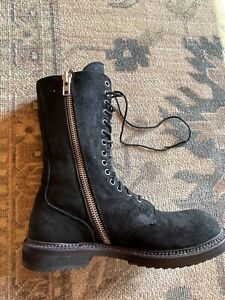 Rick Owens Blistered Waxed Black Suede Combat Zipper Boots Size 38 8