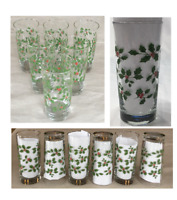 Vintage Libbey Christmas Drinking Glass Tumblers 16 oz. HOLLY BERRY 6-PC Set