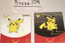 Lot (2) Packs Toy #1 Happy Meal Black / White Pikachu Card Box Art McDonalds Set