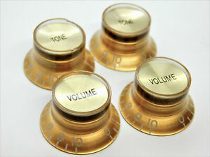 Gold Bell Gibson®Style Gold Top Reflector Knobs 2 volume, 2 Tone 24 Spline CTS