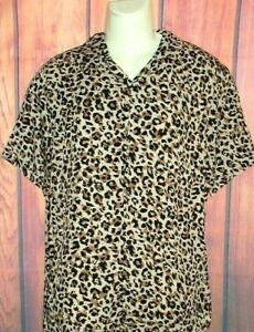 MENS H&M CHEETAH LEOPARD ANIMAL PRINT SHORT SLEEVE SHIRT SIZE M