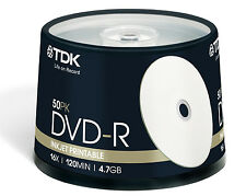 200 New TDK 16X White Inkjet Printable 4.7GB DVD-R [FREE USPS Priority Mail]