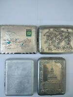 Lot of 4 cigarette cases of the USSR. Bogatyrs .Novosibirsk .Vsxv .October