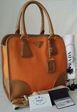 MINT PRADA CANAPA SAFFIANO LEATHER TOTE BAG HANDBAG ORANGE/CARAMEL MADE IN ITALY
