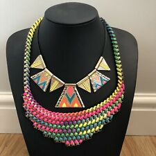 Neon 2 Necklace Bundle Gold Pink Yellow Blue Folk Festival Statement Rave Bib