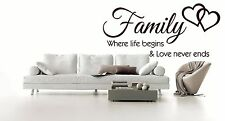 Wall Quote Family where life begins Vinyl Sticker Art Mural Home Decal