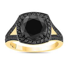 ENHANCED BLACK DIAMOND ENGAGEMENT RING 14K YELLOW GOLD HALO RING  4.02 CARAT