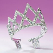 Silver Diamond Crown Tiara - Princess Fancy Dress - Dance Costume Accessory