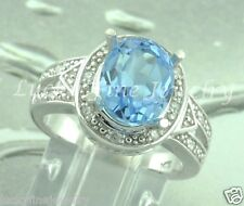 4.36 ct Oval Blue Topaz  & Natural Diamond Ring 14k white gold made in USA