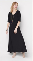 Attitudes by Renee Petite Solid Maxi Dress - Black - Petite Small