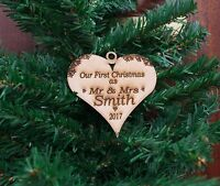 Personalised Bauble, Wooden Rustic Christmas, Mr & Mrs Heart Decoration, MDF