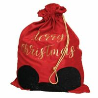 DISNEY MICKEY MOUSE CHRISTMAS RED VELVET GIFT SACK  WITH MICKEY EARS WIDDOP & CO