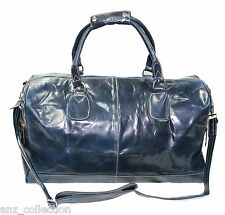 Large Real Leather NAVY Holdall Duffel Travel Sports Gym Designer Weekend Bag