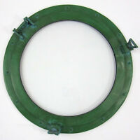 "XL Ships Porthole Glass Window 20"" Green Finish Aluminum Nautical Wall Decor New"