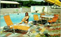 L&M Motel, Route 55, Poolside Young Lady, Schenectady NY Vintage Postcard MM