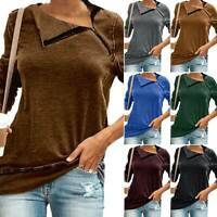 Women Long Sleeve Casual Shirt Ladies Zip V-neck Tops Work Fit Blouse Plus Size