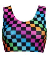 Women's Rainbow Multi Check Squares Checkerboard Check Sleeveless Crop Top Vest