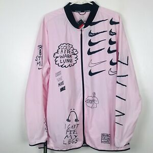 Nike Nathan Bell Men's Printed Running Jacket AJ7759-663 Pink Black Sz Large