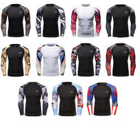 Mens Gym Athletic Compression T-shirts Workout Long Sleeve Spandex Tops