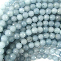 """4/6/8/10mm Faceted Natural Blue Aquamarine Round Gemstone Loose Beads 15""""AAA+"""