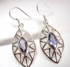 Faceted Iolite Marquise Earrings 925 Sterling Silver Dangle Drop New