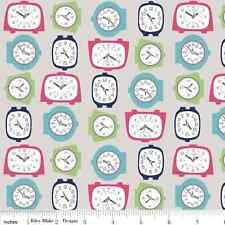 1YD GRACIE GIRL Retro Vintage 1950's Alarm Clocks C3532 Gray Riley Blake Fabric