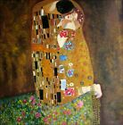 Quality Hand Painted Oil Painting, Gustav Klimt the Kiss Repro, 36x36in