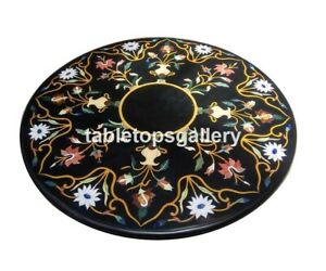 2.5' Marble Round Coffee Table Top Precious Floral Inlay Art Outdoor Decors B063