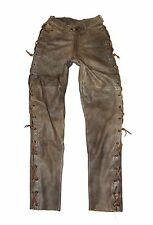 "Brown Distressed Leather MOTO DRESS Lace Up Jeans Pants Trousers Size W26"" L32"""