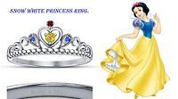 Round Cut Multi-Stone 14K White Gold Plated Snow White Disney Princess Ring