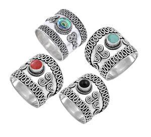 Bali Filigree Swirl Gemstone Sterling Silver Large Band Ring