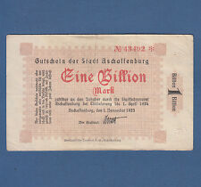 ASCHAFFENBURG 1 Billion Mark 1923 Erh. III / VF