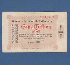 ASCHAFFENBURG 1 Billion Mark 1923 Erh. III / VF
