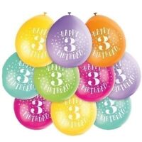 """10 x Happy 3rd Birthday 9"""" Latex Balloons Mixed Air Fill 3 Party Decoration"""
